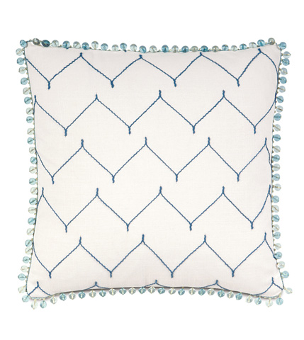 Eastern Accents - Zolah Indigo Pillow with Beaded Trim - OLY-08
