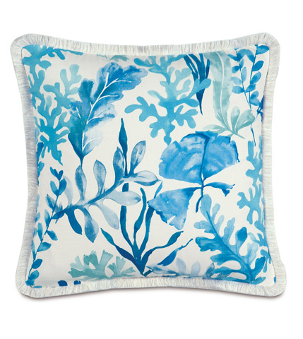 Eastern Accents - Olympia Azure Pillow with Brush Fringe - OLY-09