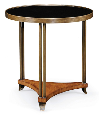 Emerson Bentley - Round End Table with Black Glass - 10145