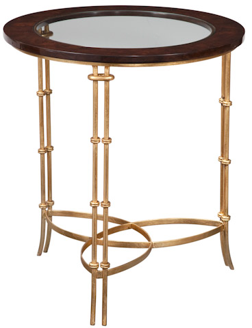 Emerson Bentley - Walnut Burl Accent Table with Gold Leaf - 12042