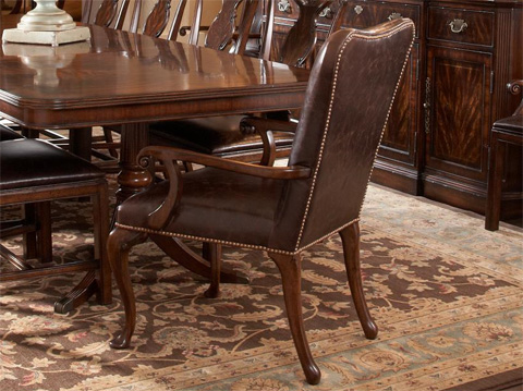 Fine Furniture Design - Leather Upholstered Dining Arm Chair - 1110-825