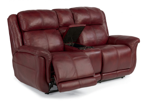 Flexsteel - Leather Power Reclining Loveseat with Console - 1251-604P