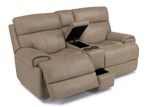 Flexsteel - Leather Power Reclining Loveseat with Console - 1441-604P