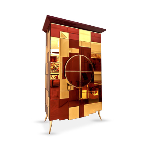 Francesco Molon - Mirror Inlaid Accent Cabinet - B523