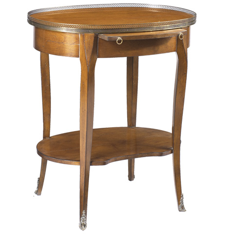 French Heritage - Cardinet Oval Side Table with Gallery - A-2443-401-LTCH