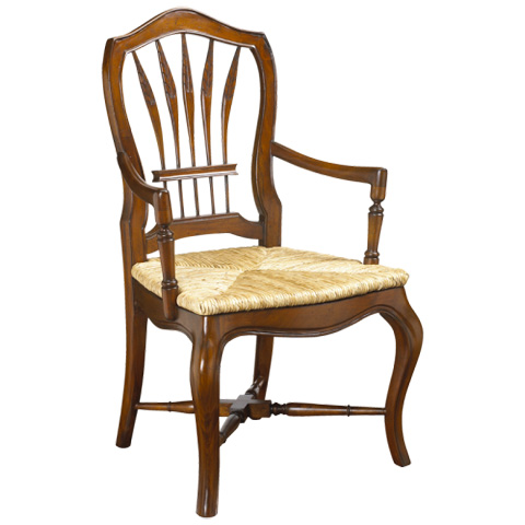 French Heritage - Wheatback Arm Chair with Rush Seat - M-1027-001-CHA