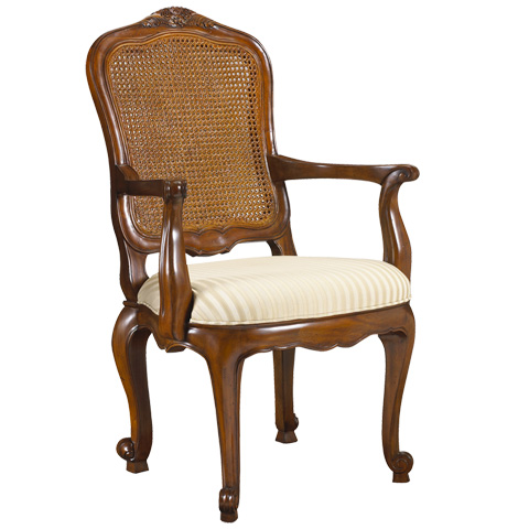 French Heritage - Burgundy Double Cane Back Arm Chair - M-1027-202-CHA