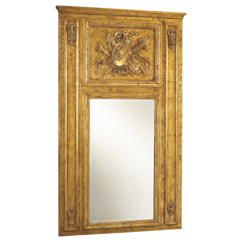 French Heritage - Quatuor Metallic Trumeau Wall Mirror - M-8704-209-GLD