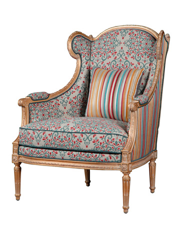 French Heritage - Babette Carved Frame Wing Chair - U-RG-4076-1834