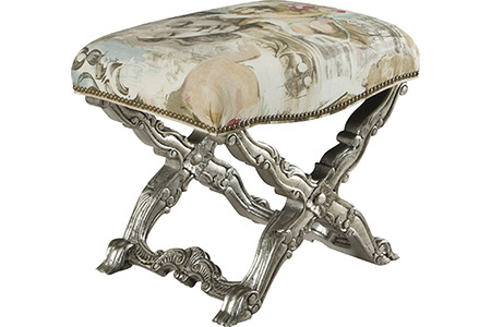 French Heritage - Arimis Cross Leg Ottoman - U-3074-0124