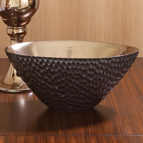 Global Views - Chiseled Blonde Bronze Oval Bowl - 1658
