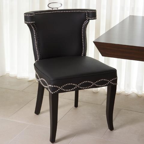 Global Views - Black Leather Casino Chair - 2264