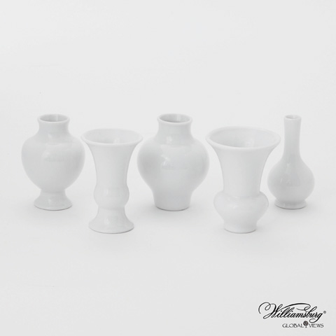 Global Views - Set of 5 White Mini Chinoise Vases - 4.80026