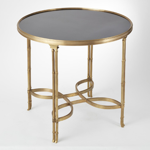 Global Views - Brass & Black Granite Double Bamboo Leg Table - 8.80499