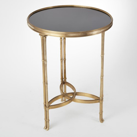 Global Views - Brass & Black Granite Bamboo Leg Accent Table - 8.80599