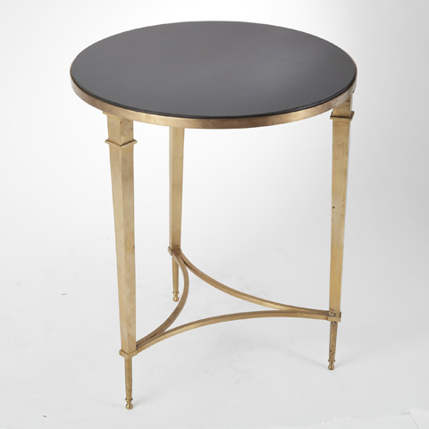 Global Views - Brass & Black Granite French Square Leg Table - 8.80604