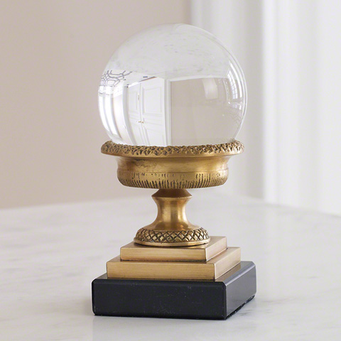Global Views - Petite Brass Urn On Marble Base - 8492