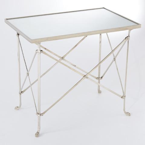 Global Views - Nickel & Mirror Rectangular Directoire Table - 8829