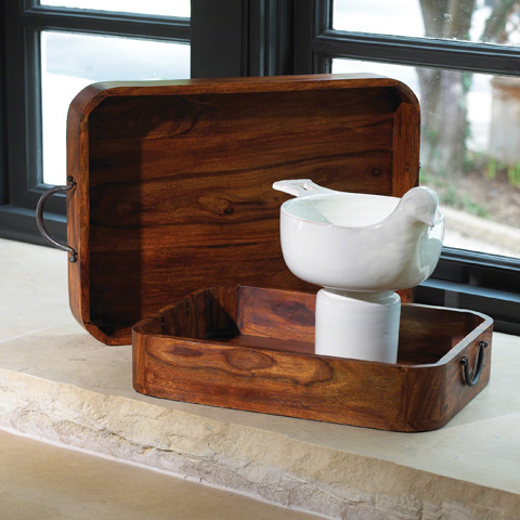 Global Views - Set of 2 Wood & Iron Trays - 9.90598