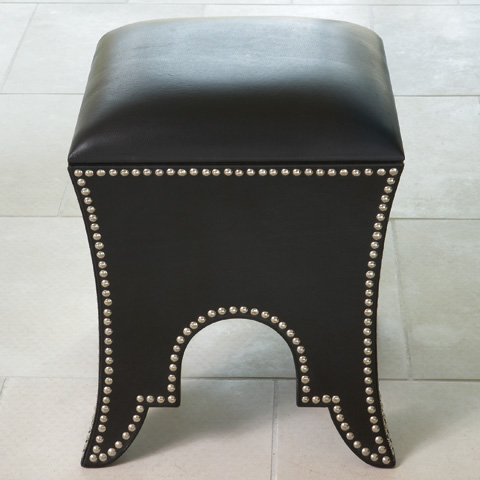Global Views - Black Leather Moroccan Poof - 9.91178