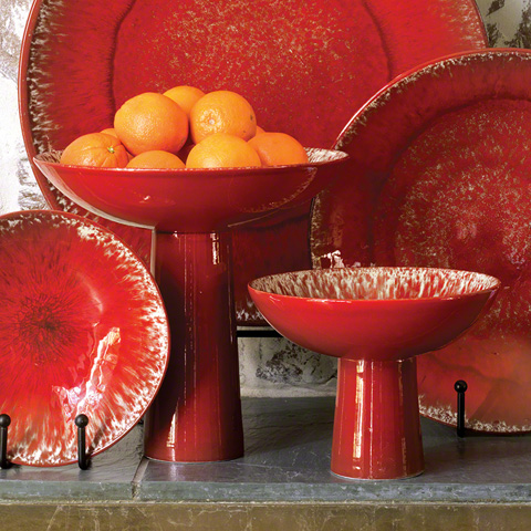 Global Views - Red Zinger Footed Bowl - 3.31058