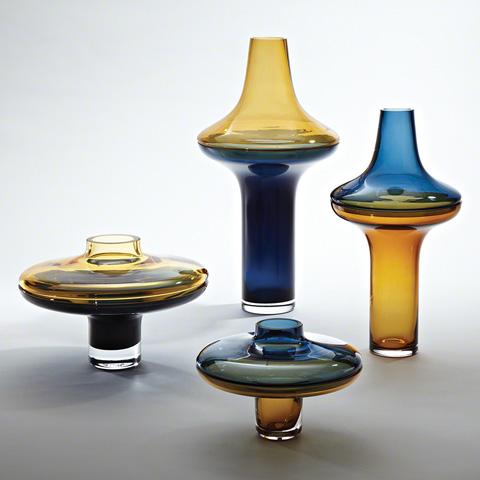 Global Views - Low Amber over Cobalt Vase - 6.60284