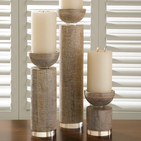 Global Views - Scratched Pillar Candleholder - 9.91041
