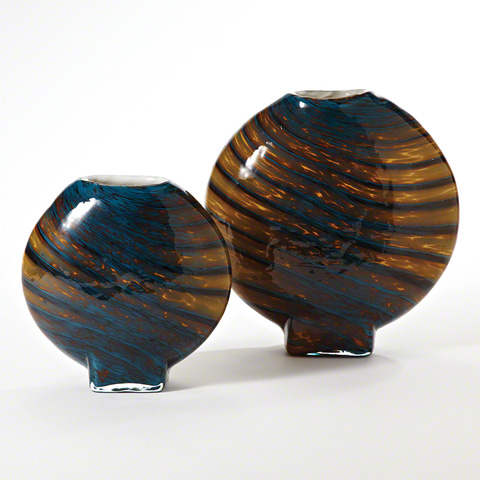 Global Views - Cobalt Gold Swirl Vase - 8.81965