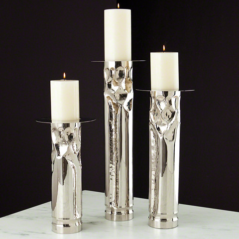 Global Views - Arts & Crafts Nickel Candleholder - 9.91567