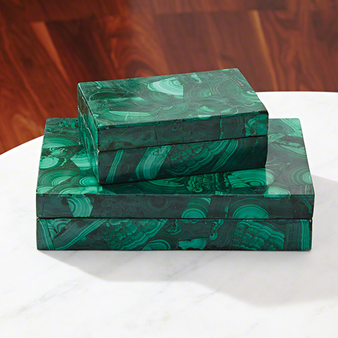 Global Views - Malachite Stone Box - 9.92375