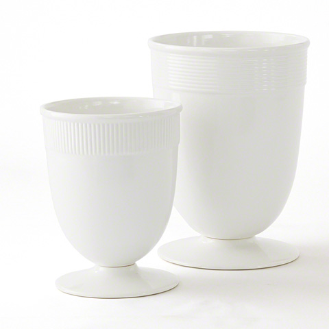 Global Views - Large Banded Ceramic Vase in White - BB-ZW2471GW