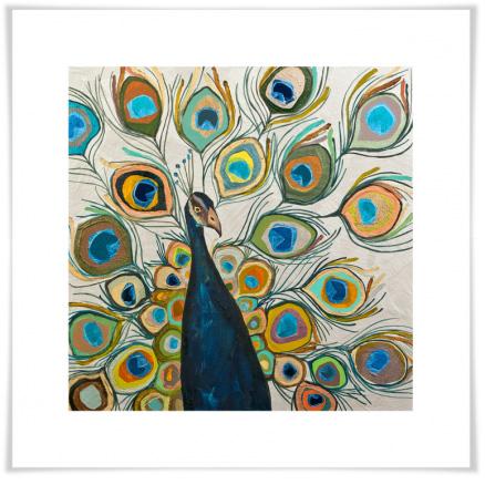 Greenbox Art - Peacock Metallic Pearl White Artwork - NB1508