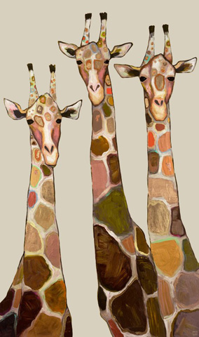 Greenbox Art - Three Giraffes on Cream Art - NB21383