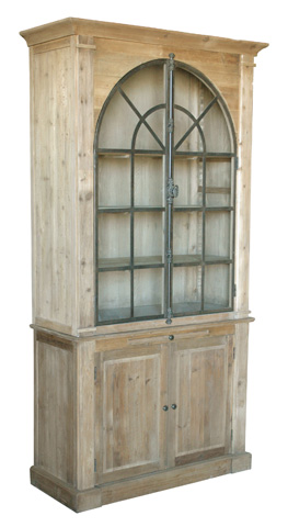 GJ Styles - Iron Decorative Arched Bookcase in Pine - AH31