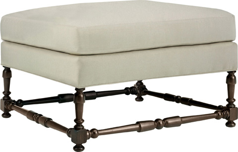 Hickory Chair - Maud Ottoman with Turned Stretchers - 701-29