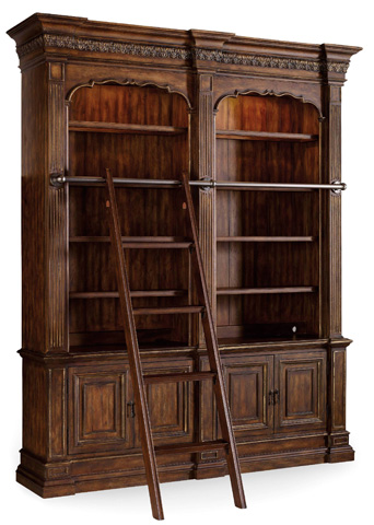 Hooker Furniture - Adagio Double Bookcase with Ladder and Rail - 5091-10225