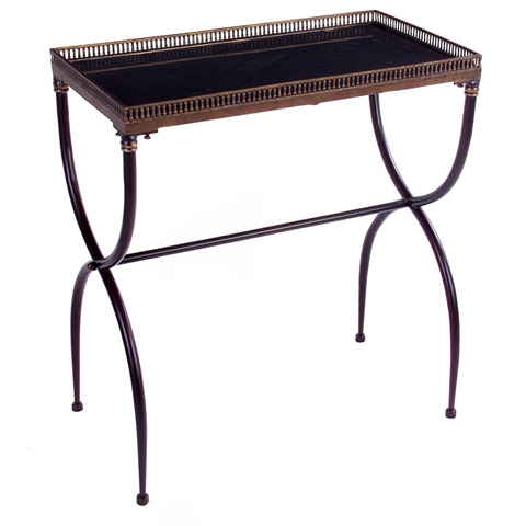 IMAX Worldwide Home - Rectangular Black X-Leg Accent Table - 12004