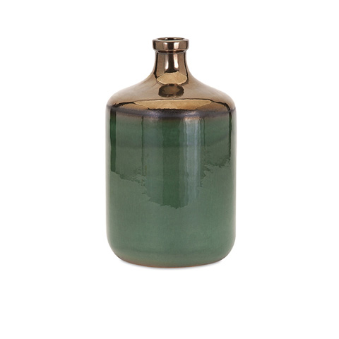 IMAX Worldwide Home - Melenia Medium Green and Bronze Vase - 13701