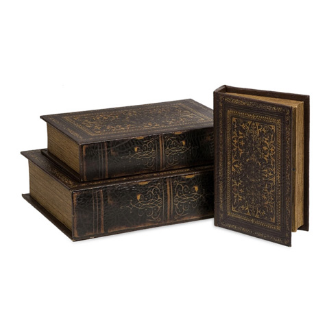 IMAX Worldwide Home - Old World Book Box Collection-Set of 3 - 1942-3