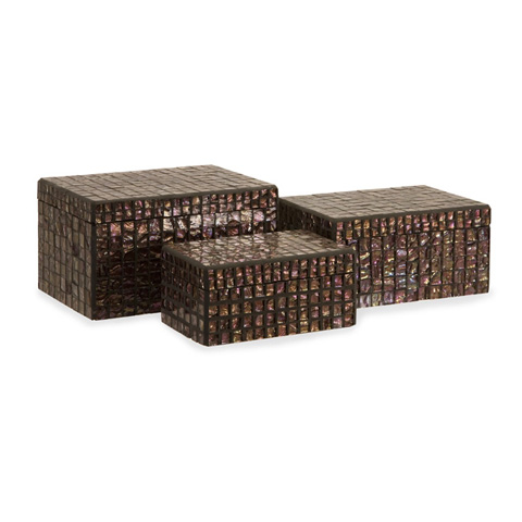 IMAX Worldwide Home - Orchid Mosaic Boxes - Set of 3 - 1956-3