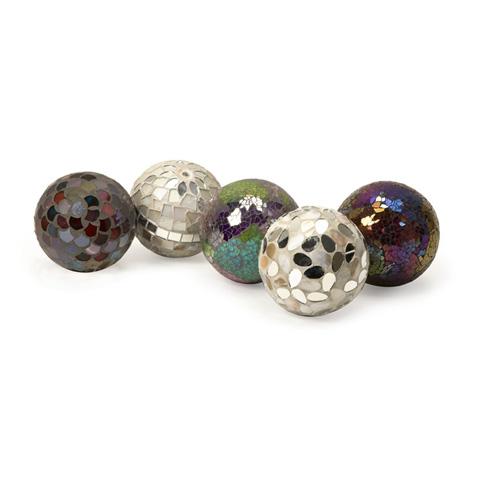 IMAX Worldwide Home - Abbot Mosaic Deco Balls - Set of 5 - 1994-5
