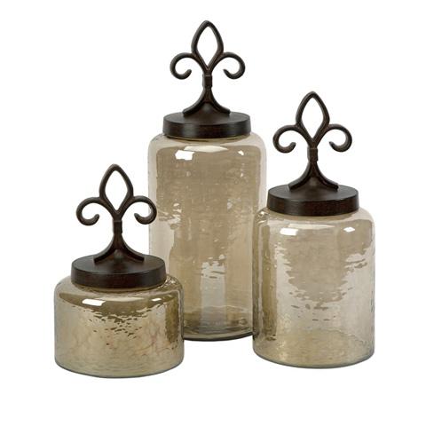 IMAX Worldwide Home - Fleur De Lis Lidded Jars - Set of 3 - 20075-3