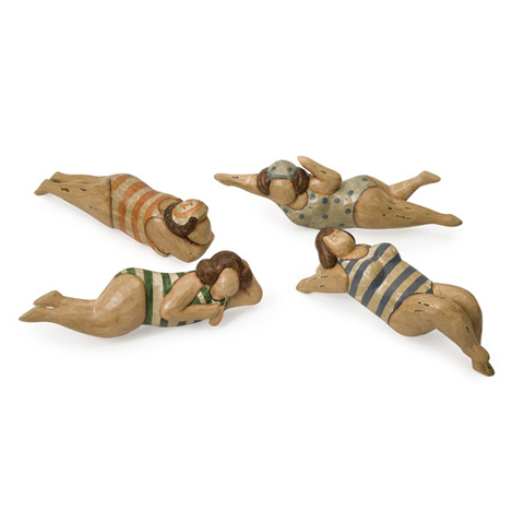 IMAX Worldwide Home - Bathing Beauties in Natural Wood - Set of 4 - 22000-4