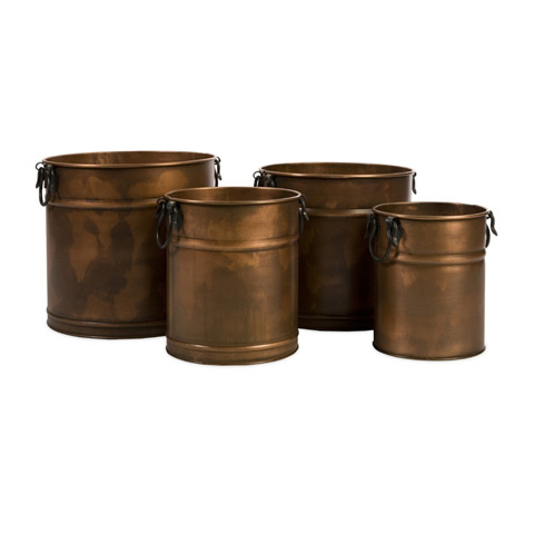 IMAX Worldwide Home - Tauba Round Copper Finish Planter - Set of 4 - 44135-4