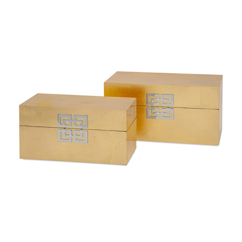 IMAX Worldwide Home - Danes Gold Leaf Boxes - Set of 2 - 52034-2