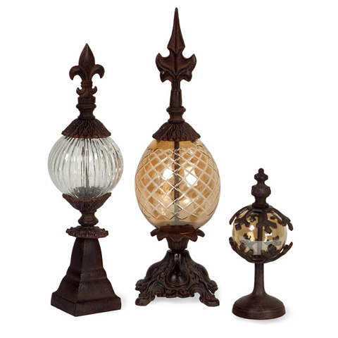 IMAX Worldwide Home - Glass and Metal Finials - Set of 3 - 60600-3
