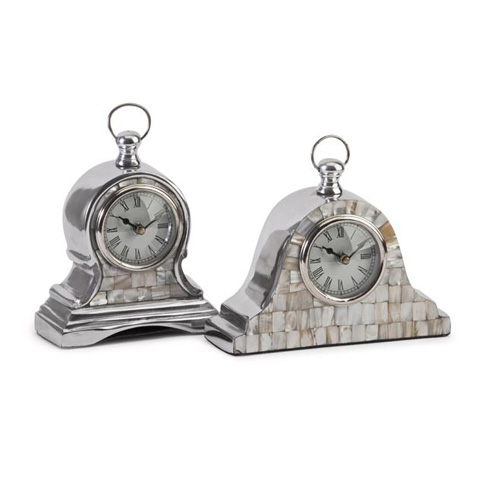 IMAX Worldwide Home - Aluminum Mother of Pearl Clock - Set of 2 - 60982-2