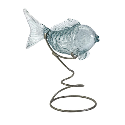 IMAX Worldwide Home - Pisces Glass Fish Statuary on Metal Stand - 63113