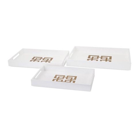 IMAX Worldwide Home - Giselle White Lacquer Trays- Set of 3 - 65112-3