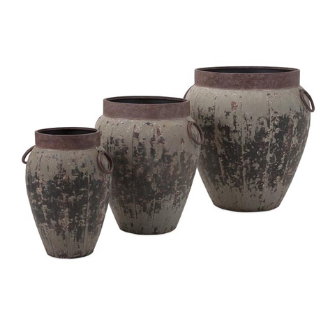 IMAX Worldwide Home - Argetile Rustic Planters - Set of 3 - 65245-3